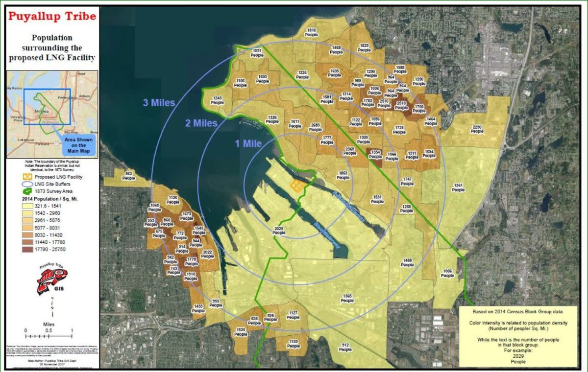 A map created by the Puyallup Tribe shows the blast zone of a potential industrial accident around Puget Sound Energy's liquified natural gas plant. In addition to the tribe's reservation to the southeast, a large population of homes and businesses to the northeast would also be affected. (Courtesy the Puyallup Tribe of Indians)