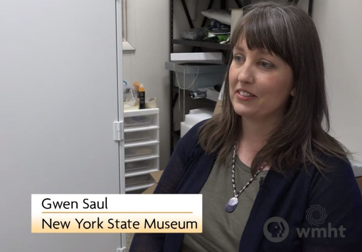 State Museum Curator of Ethnology Gwendolyn Saul has lectured about Cornplanter's Pipe and worked with the Seneca Museum to display it. (Video screen capture WMHT)