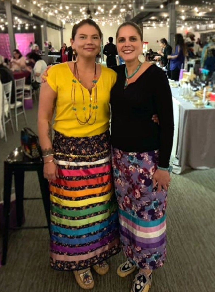Left to right: Jonel Beauvais, Akwesasne Mohawk, of the Seven Dancers Coalition, a partnering organization to Rematriation Magazine and Michelle Schenandoah, founder of Rematriation Magazine. (Photo: Avery Oakes, Akwesasne Mohawk)