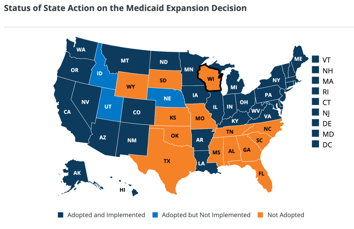 States that have adopted, not adopted, Medicaid expansion under the Affordable Care Act. (Graphic: Kaiser Family Foundation)