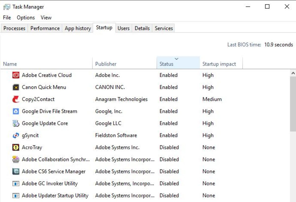 An example of the Task Manager panel. Notice how some programs are enabled and some are disabled.
