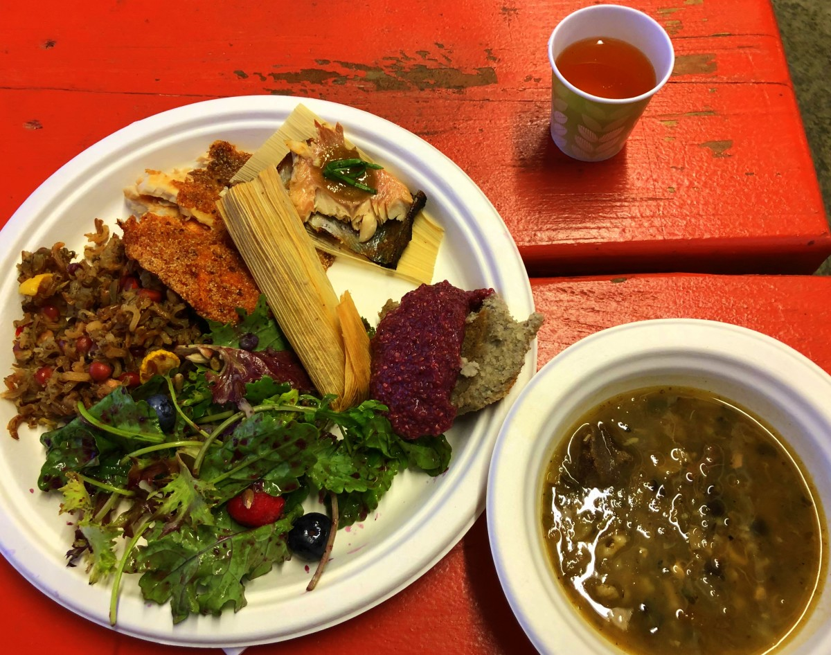 Dinner for Saturday night. It included wild rice, romaine salad, breaded fish, a buffalo meat tamale, among other foods. (Photo by: C.A. Printup)