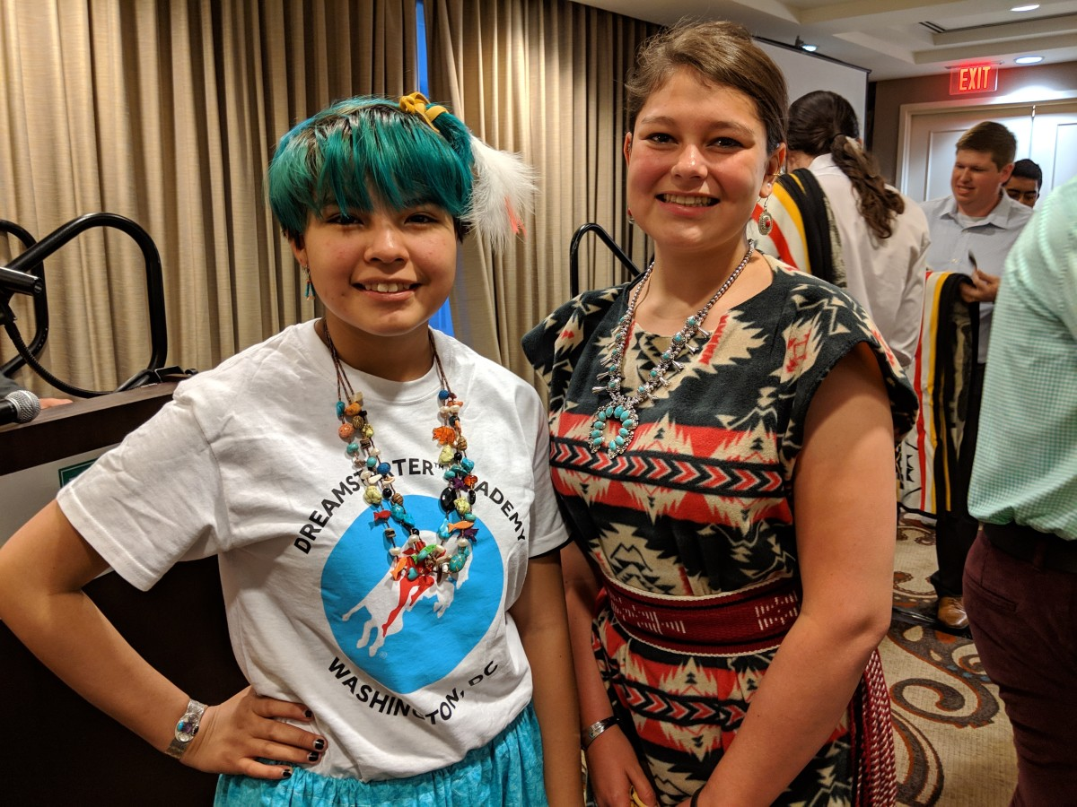 Hope Gamble, 14 and Taylor Eddie, 16 both from the Navajo Nation, take a moment for smiles at the Dreamstarters closing ceremony. (Photo: Vincent Schilling)