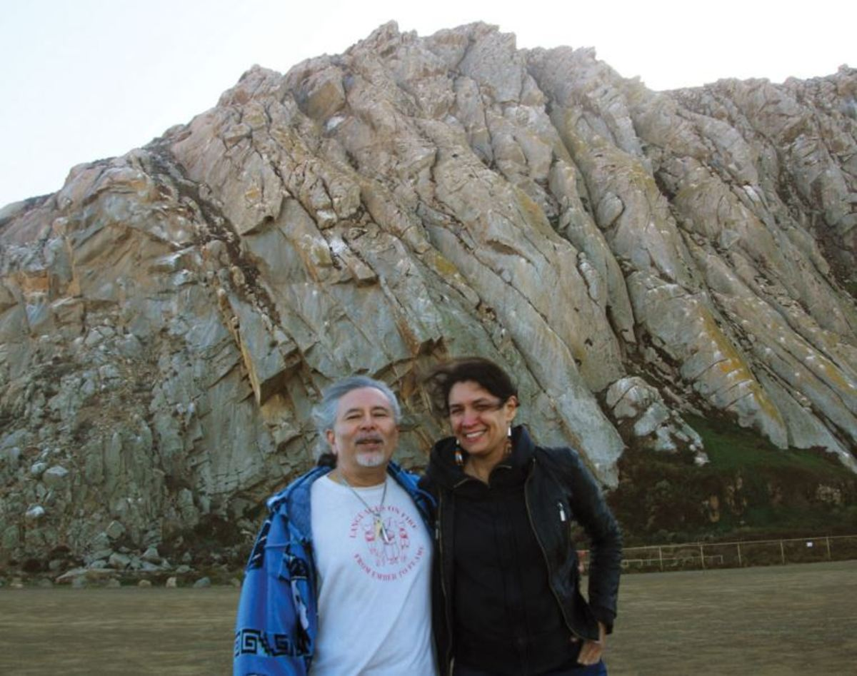 Gregg Castro, a Salinan tribal member who helped start the California Indian History Curriculum Coalition, and author Allison Herrera at Morro Rock, an important site for California tribes.