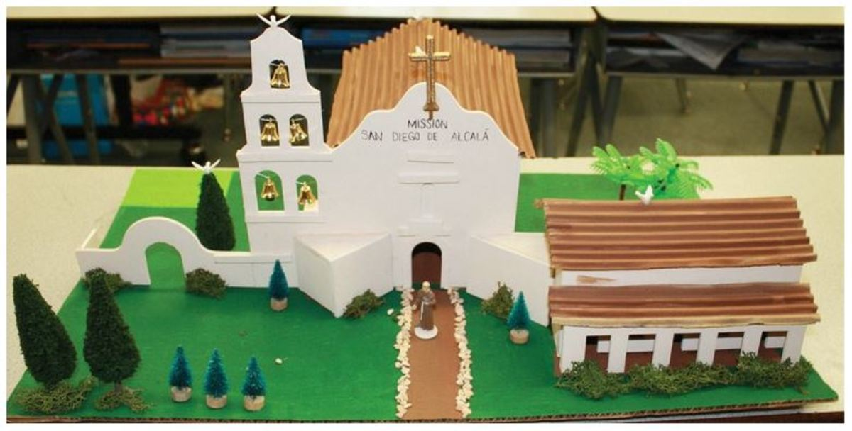 A model of the Mission San Diego de Acalá, produced by a fourth-grade social studies class studying the mission curriculum.