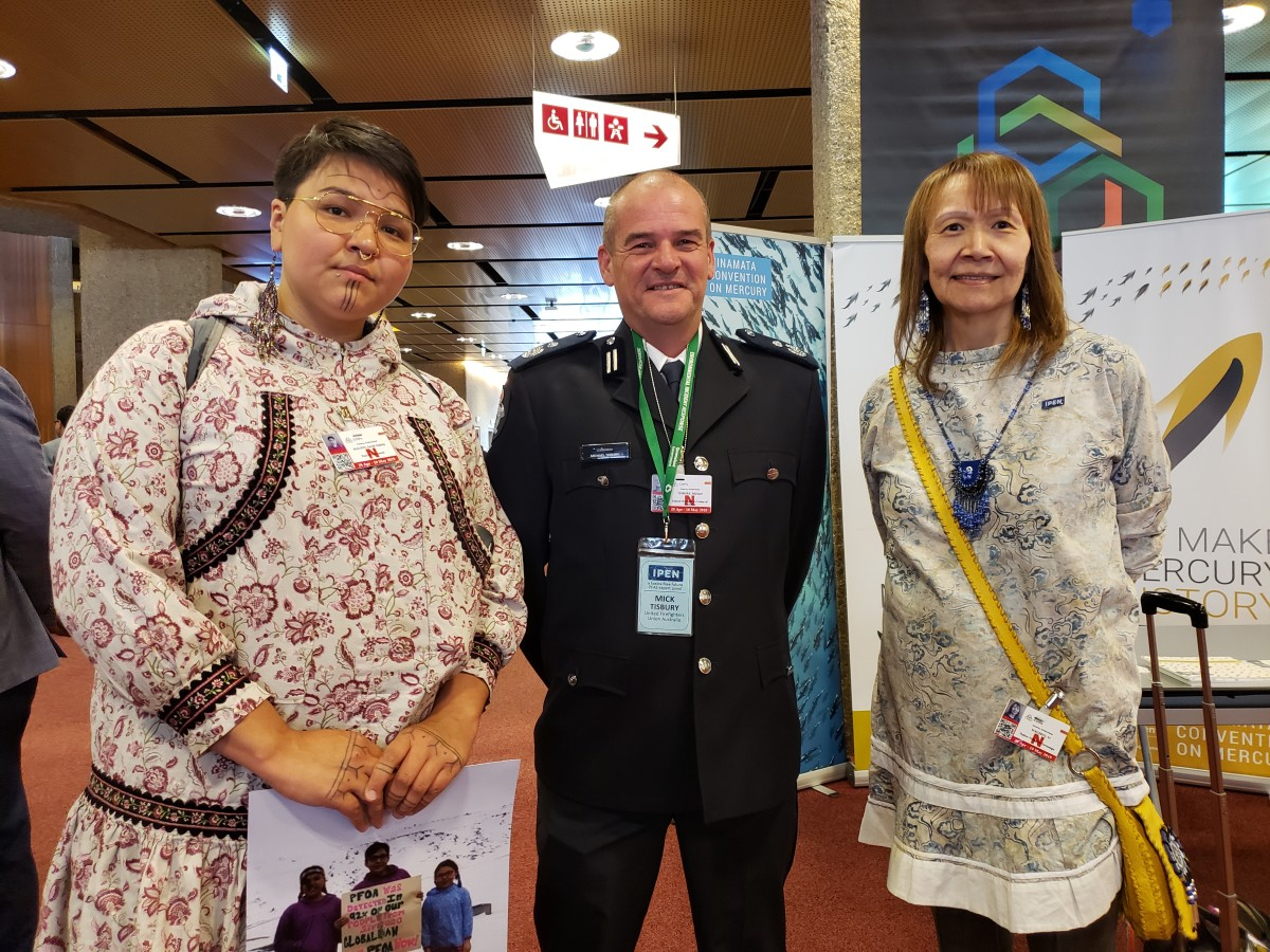 """Pictured From left to right: Native Movement Art and Youth Organizer, Siqiñiq Maupin; United Firefighters Union of Australia, Mick Tisbury; and  Alaska Community Action on Toxics Environmental Health and Justice Program Director, Viola (""""Vi"""") Waghiyi in Geneva, Switzerland for the United Nations Stockholm Convention on Persistent Organic Pollutants."""
