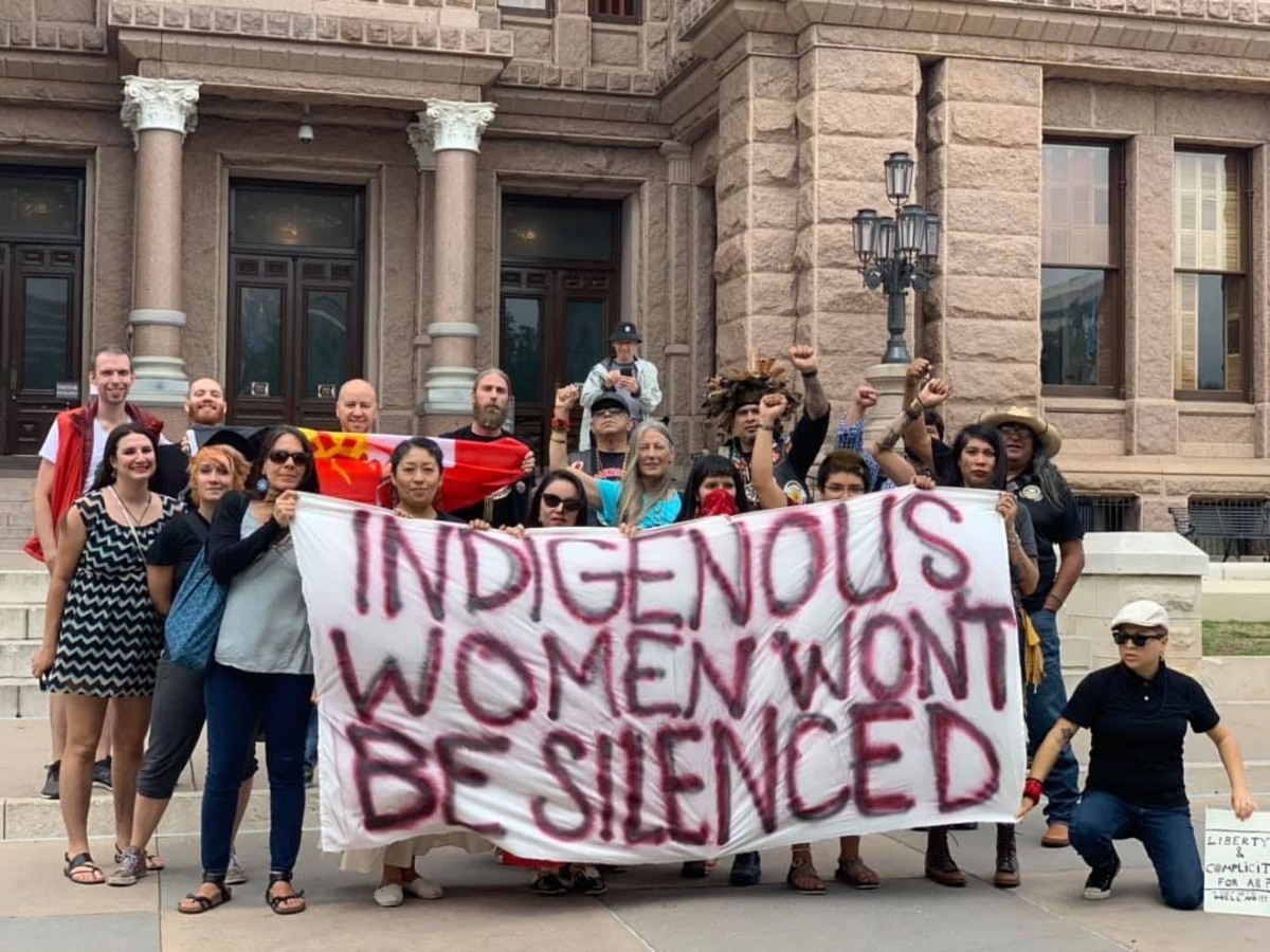 Members of the Society of Native Nations outside the Texas State House of Representatives. (Courtesy Frankie Orona)