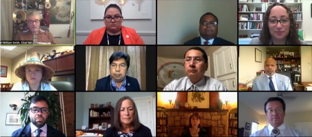 Pictured: Participants in the virtual public briefing, titled: 'COVID-19 in Indian Country: The Impact of Federal Broken Promises on Native Americans.'