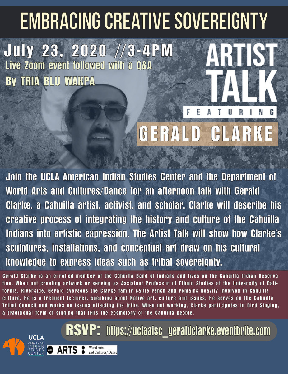 Embracing Creative Sovereignty, an Artist Talk with Gerald Clarke event flyer