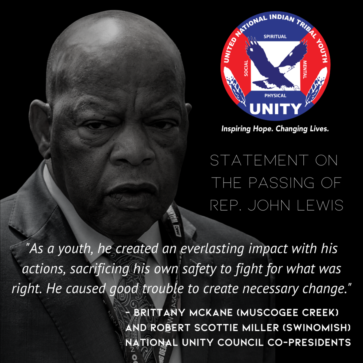 UNITY statement on the passing of John Lewis. (Graphic courtesy of UNITY)