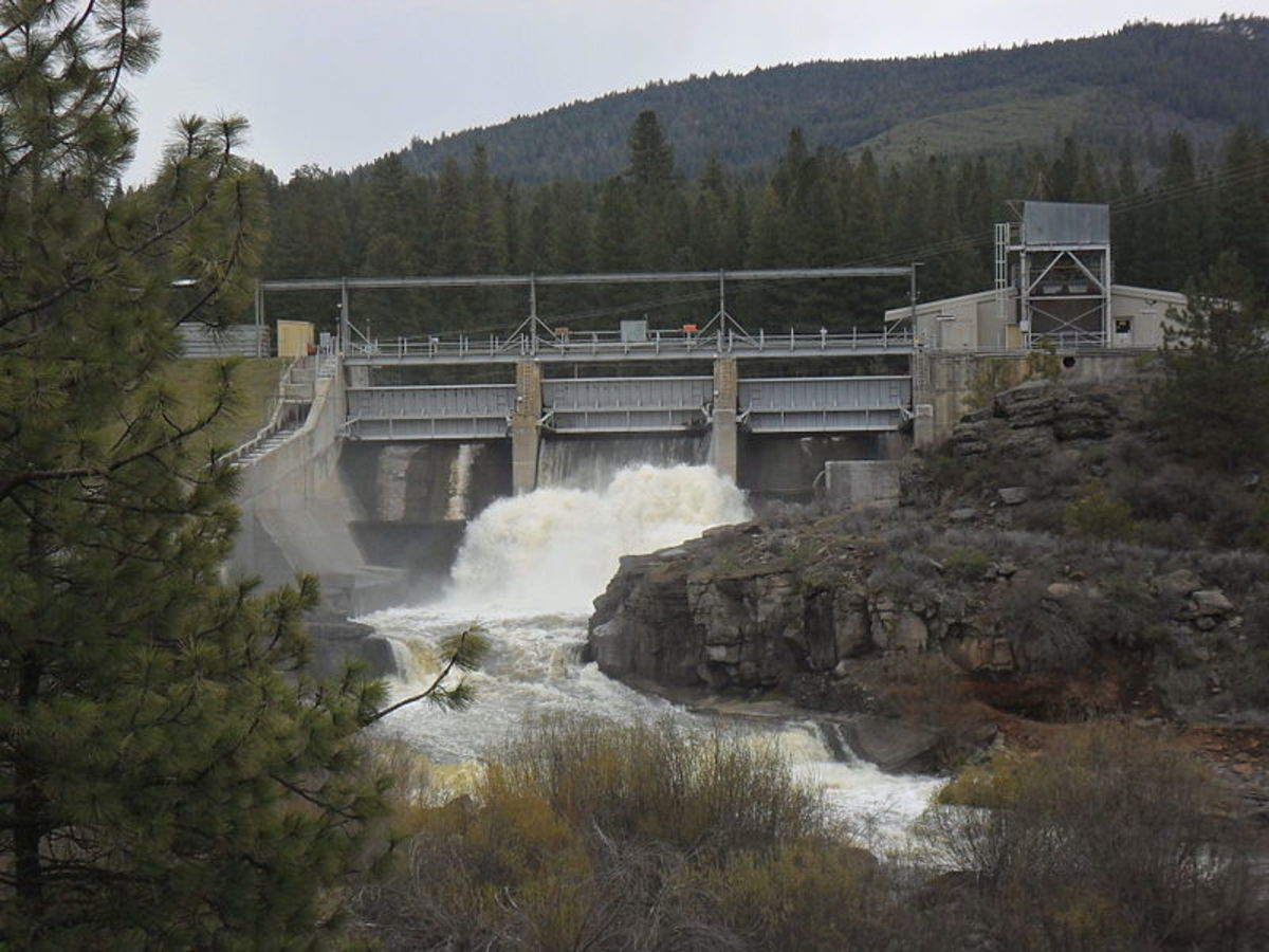 Pictured: The John C. Boyle Dam with gates open; one of four Klamath River dams tribes, fishermen, and conservationists want removed.