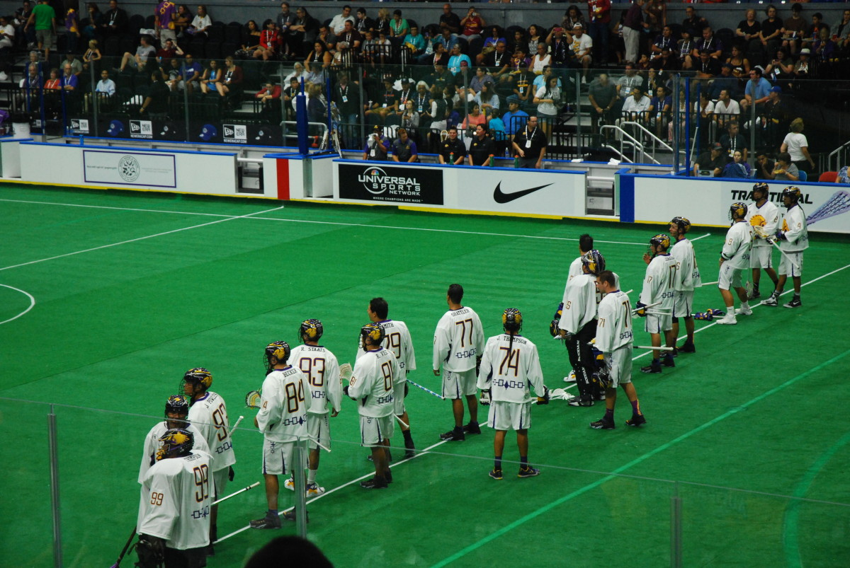 The Iroquois Nationals during the 2015 World Indoor Lacrosse Championships. (Photo by Jourdan Bennett-Begaye, Indian Country Today, File)