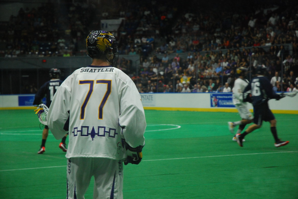 Shattler of the Iroquois Nationals during the 2015 World Indoor Lacrosse Championships. (Photo by Jourdan Bennett-Begaye, Indian Country Today, File)