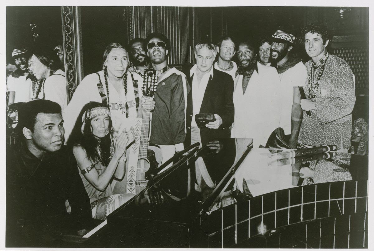 The Longest Walk, 1978. Muhammad Ali, Buffy Sainte-Marie, Floyd Red Crow Westerman, Harold Smith, Stevie Wonder, Marlon Brando, Max Gail, Dick Gregory, Richie Havens and David Amram at the concert at the end of the Longest Walk, a 3,600-mile protest march from San Francisco to Washington, D.C., in the name of the Native rights.(Photo courtesy National Museum of the American Indian)