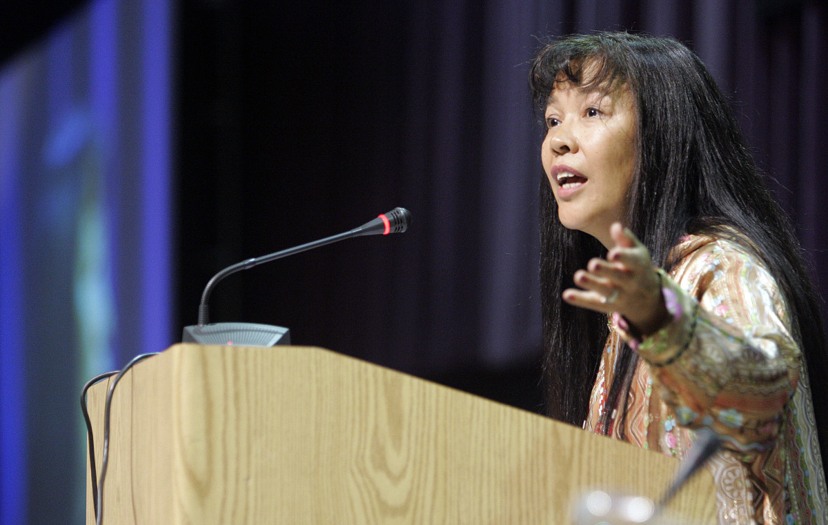 The Alaska Federation of Natives 2020 Citizen of the Year award went to Katherine Gottlieb, president and CEO of the Southcentral Foundation. She's shown here speaking at the Alaska Federation of Natives Convention in Anchorage, Alaska Thursday Oct. 26, 2006. (AP Photo/Al Grillo)