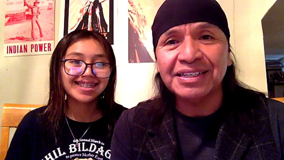 Báásé Pike and Wendsler Nosie Sr. on the Indian Country Today Newscast on August 6, 2020. (Screencap)