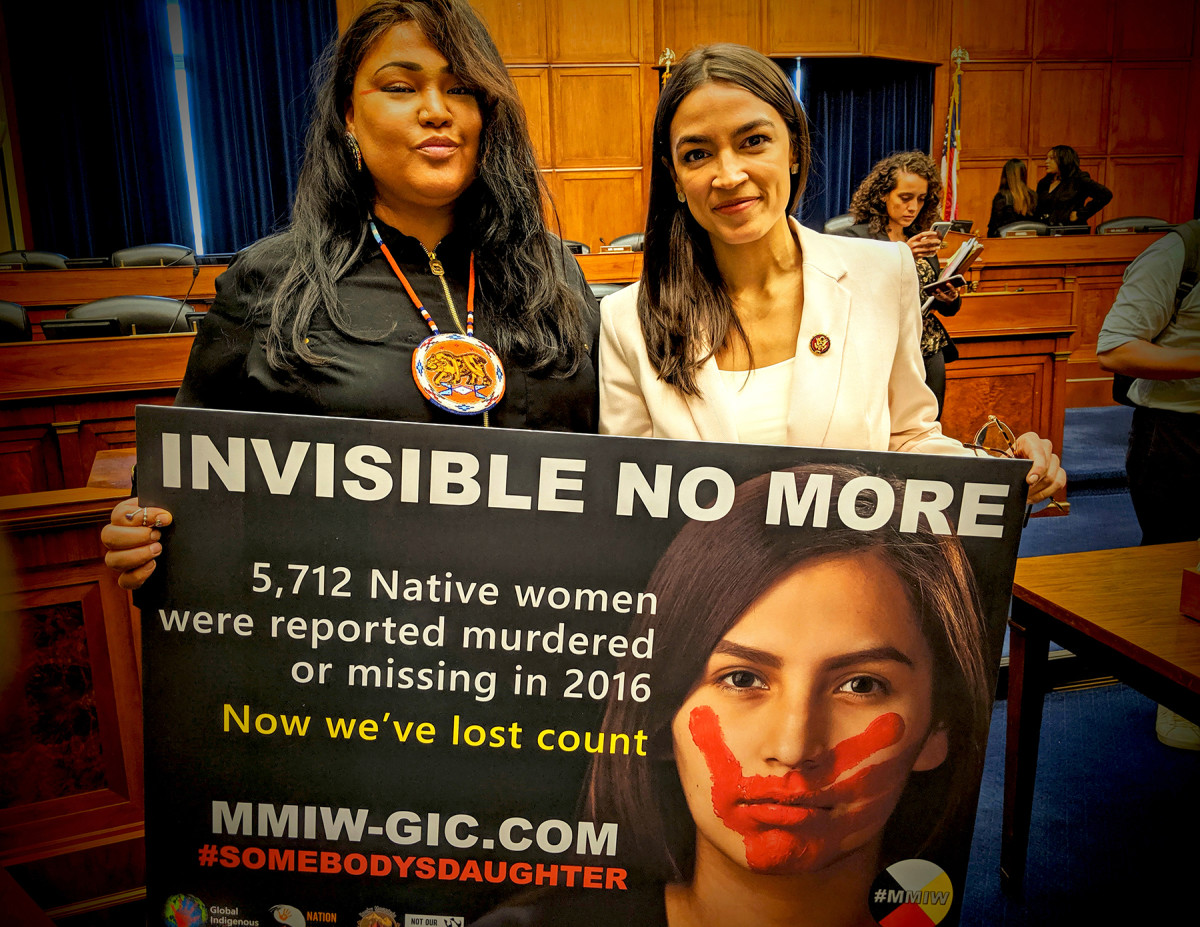 Lynnette Grey Bull, Northern Arapaho and Hunkpapa Lakota, poses for a photo with Congresswoman Alexandria Ocasio-Cortez. (Photo courtesy of Grey Bull campaign)