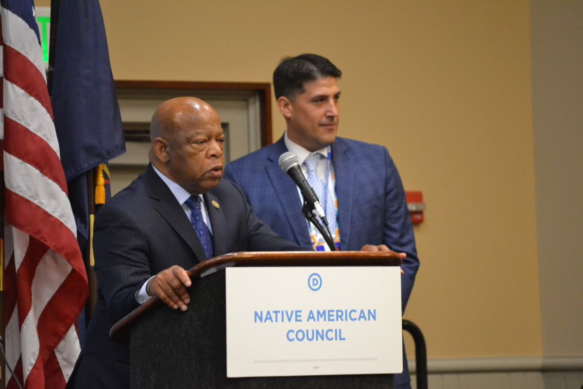 On Monday, July 25, 2016, Rep. John Lewis addresses the Native American Caucus at the DNC Convention in Philadelphia. (Photo by M.Meehan, DNCC)