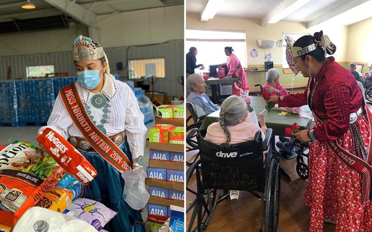 Miss Navajo Nation Shaandiin Parrish distributes food and supplies to Navajo families hit by the COVID-19 pandemic in Durango, Colorado, on June 2, 2020. (Photo courtesy of Shaandiin Parrish) Right: Miss Navajo Nation Shaandiin Parrish visits elders at the Nahata' Dziil Senior Center in Sanders on Feb. 14, 2020. (Photo courtesy of Shaandiin Parrish)
