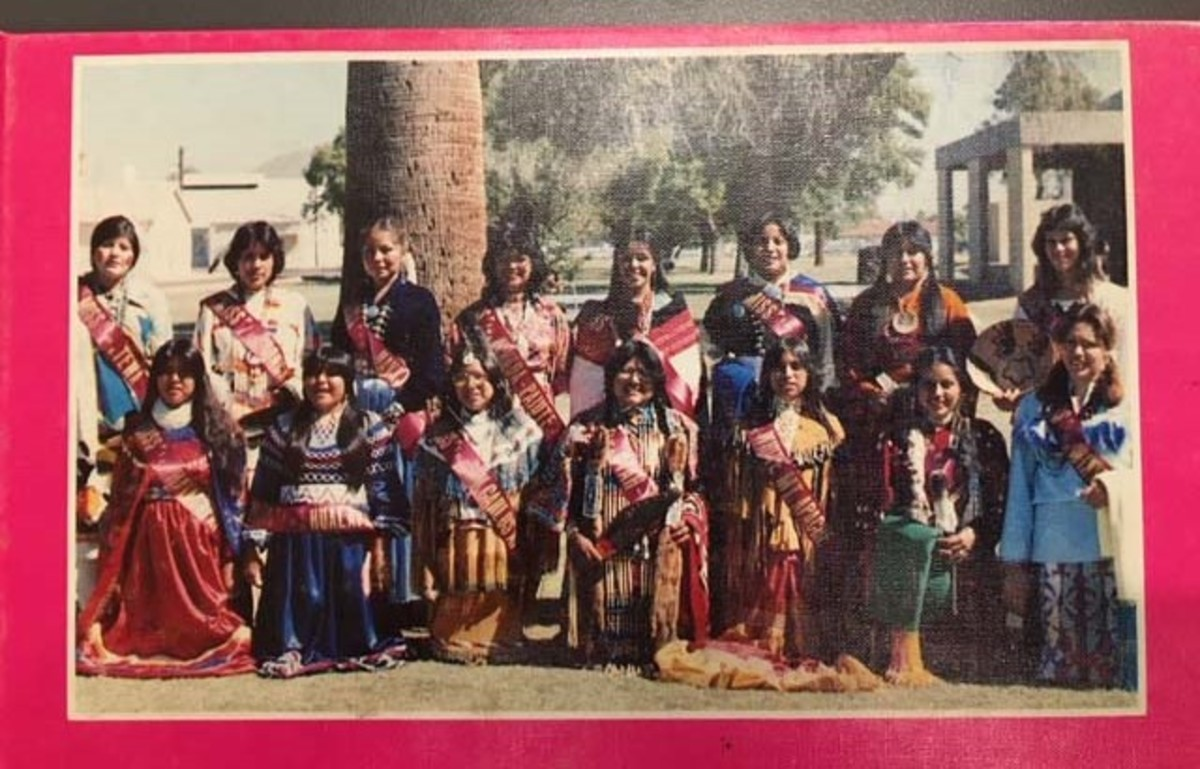 Contestants for the title of Miss Phoenix Indian School 1978-79 line up in this photo. The school's alumni say events like this show the change in attitude toward the tribal boarding schools, once students were allowed to showcase tribal culture and tradition that the schools originally tried to stamp out. (Photo courtesy Phoenix Indian School Visitor Center)