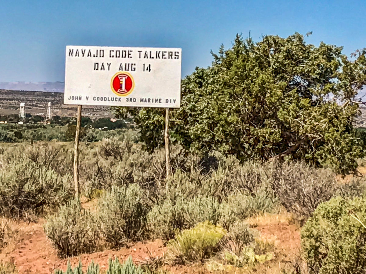 A sign on the Navajo Code Talkers highway honoring John V. Goodluck (Photo courtesy of LT Goodluck)