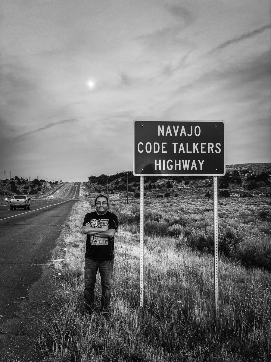 LT Goodluck by the Navajo Code Talkers Highway sign (Photo courtesy of LT Goodluck)