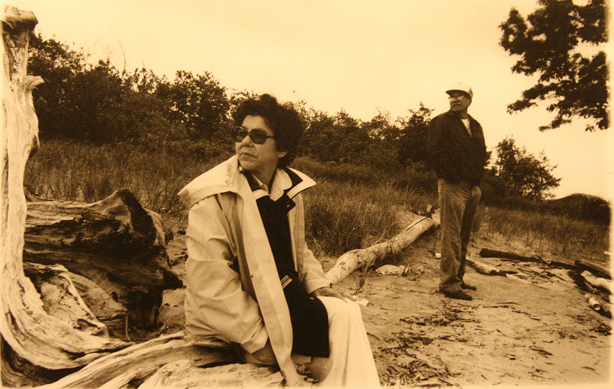 My mother Bernice and her brother Don, Bad River reservation circa 1983. (Photo by Mary Annette Pember)