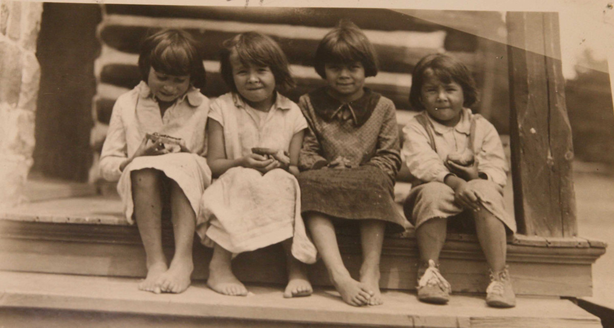 Students at the St. Mary's Indian Mission School on the Bad River reservation circa 1930 (Photo courtesy Bad River historical preservation office)