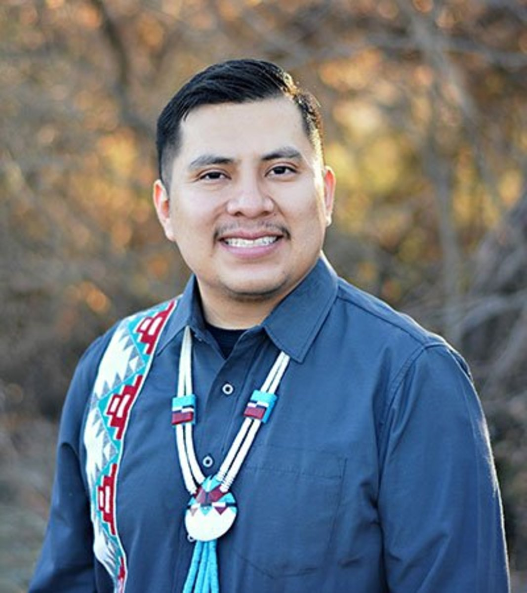 """Joshuaa Allison-Burbank, who is Navajo and Acoma, runs his own private speech therapy group. He used to spend his days traveling across the Navajo reservation providing care. Now he's using telehealth. """"It's a whole new normal when it comes to delivery of clinical therapy services."""" (Photo courtesy of Little Moccasins Education Services)"""