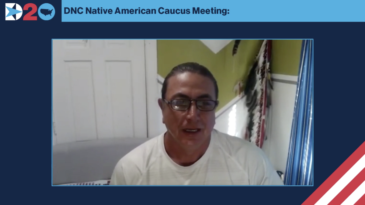 Former Chairman Dave Archambault II of the Standing Rock Sioux Tribe spoke at the 2020 DNC Native American Caucus Meeting. (Screenshot)