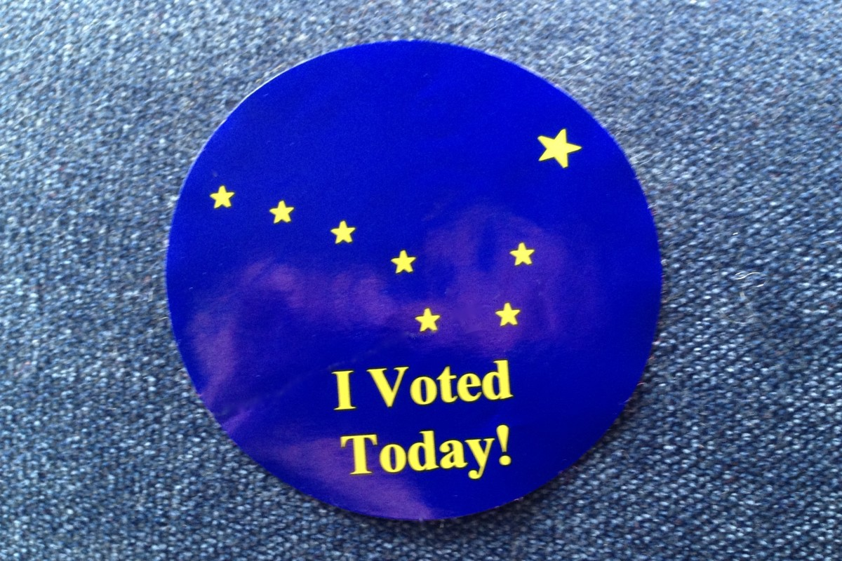 """Alaska """"I Voted Today"""" sticker with image of the Big Dipper and North Star from the state flag (File photo Indian Country Today)"""