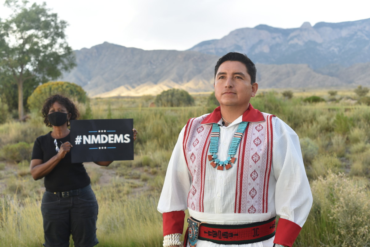 State Representative Derrick Lente, Sandia Pueblo, delivers the 2020 DNC roll call remarks on behalf of New Mexico. (Photo courtesy of the Democratic Party of New Mexico)