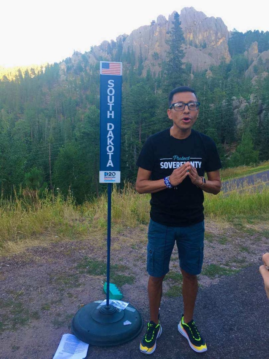 Kellen Returns From Scout, Standing Rock Sioux, films his DNC roll call video remarks in the Black Hills of South Dakota. (Photo by Peter Hill)