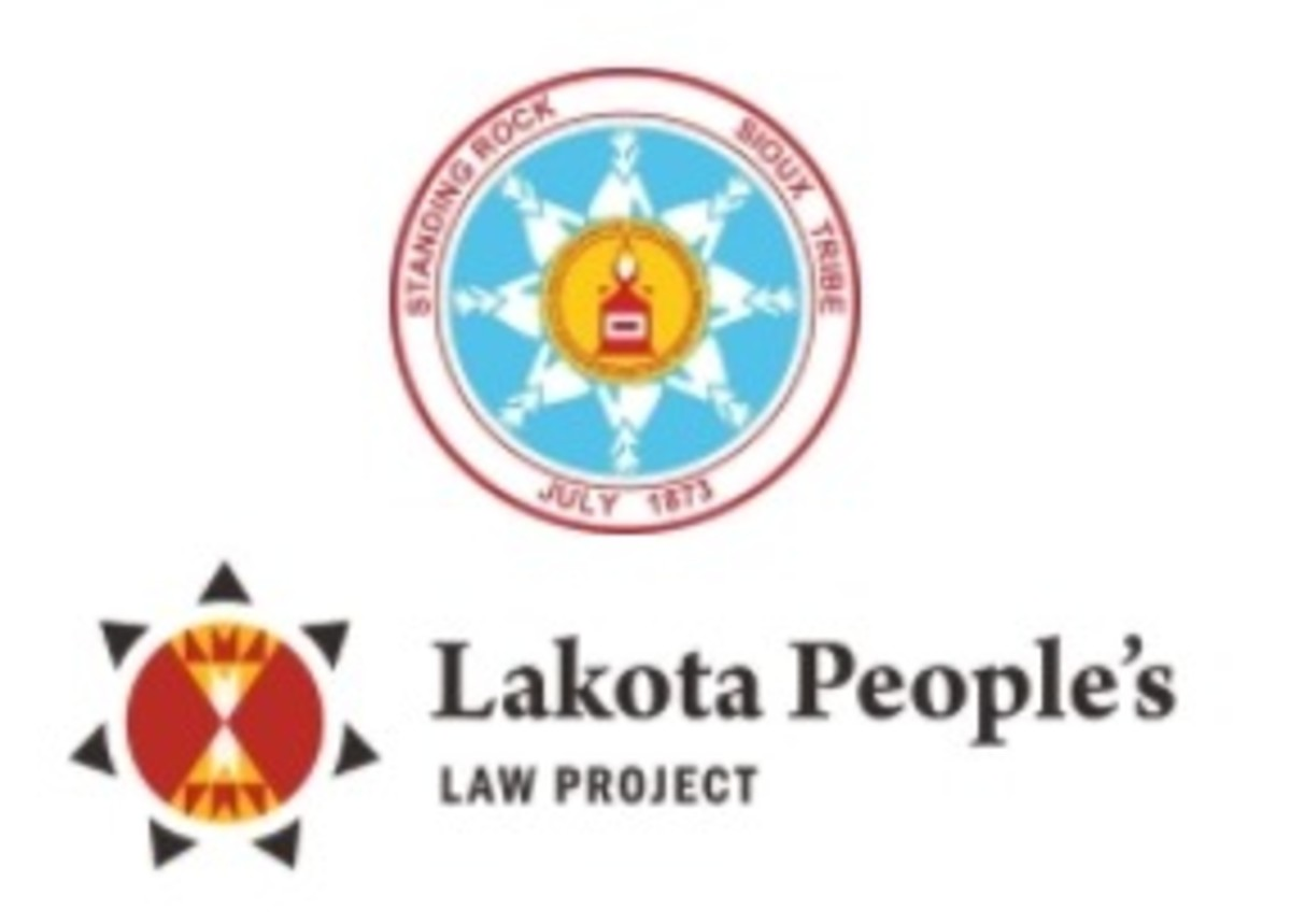 Standing Rock Sioux Tribe - seal + Lakota Peoples Law Project logo
