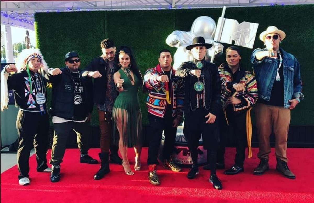 Taboo Instagram / The 2017 MTV Video Music Awards celebrated all nominees in the 'Fight Against the System' category Sunday night, including Stand Up / Stand N Rock #NoDAPL with Taboo of the Black Eyed Peas and Shailene Woodley. Taboo posted a photo of the artists on the red carpet on Instagram. (L to R) Supaman, Emcee One, PJ Vegas, Natalia 'My Verse' Doc Battiest, Taboo, Spencer Battiest and Drezus.