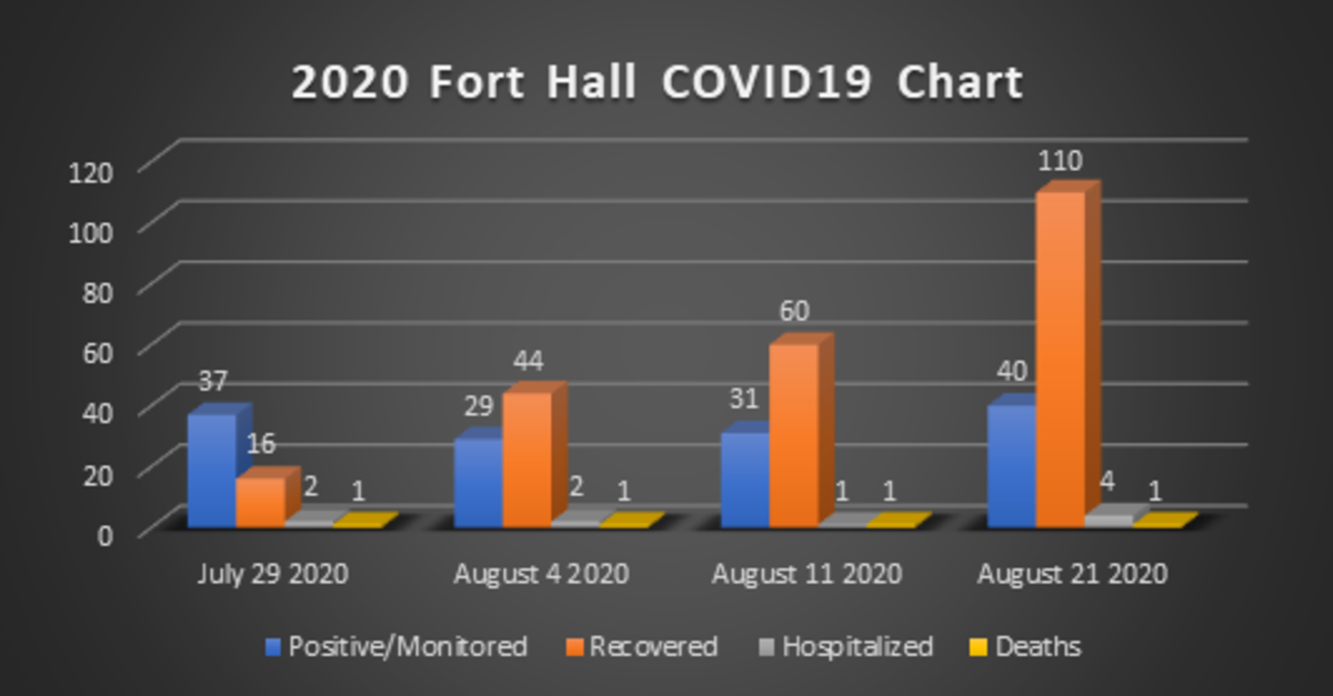 Fort Hall COVID-19 chart as at August 21, 2020.