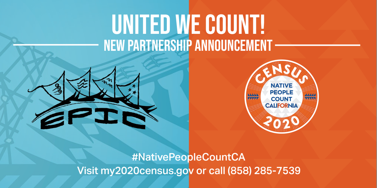 """Native People Count California """"United We Count"""" Census 2020 announcement flyer"""