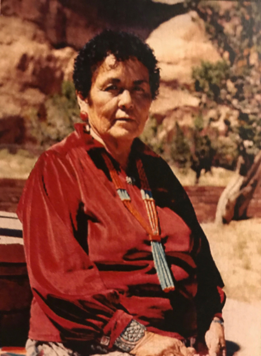 This undated photo provided by Michael B. Slim shows shows his grandmother Alyce Slim in Window Rock, Ariz., on the Navajo Nation. Alyce Slim and her granddaughter were killed in 2001 on the reservation. One of the men who was convicted in their deaths is on federal death row, scheduled to be executed Aug. 26, 2020. (Michael B. Slim via AP)
