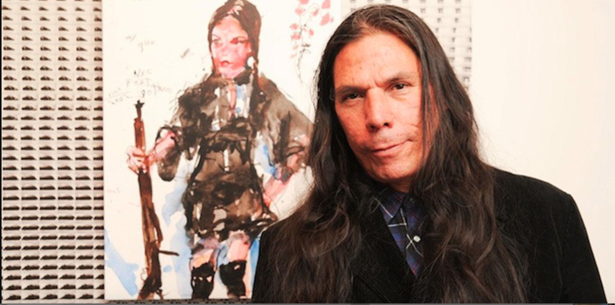 The artist with a Buffalo Girl painting (Photo courtesy of Brad Kahlhamer)