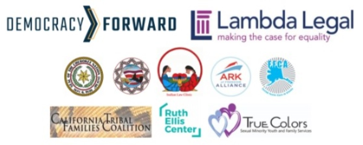 California-based coalition of tribes, two federally recognized Indian tribes, a foster youth and foster care alumni group, and three organizations that work with LGBTQ+ and two-spirit youth in foster care sued the Department of Health and Human Services (HHS) and the Administration for Children and Families (ACF) -- logos