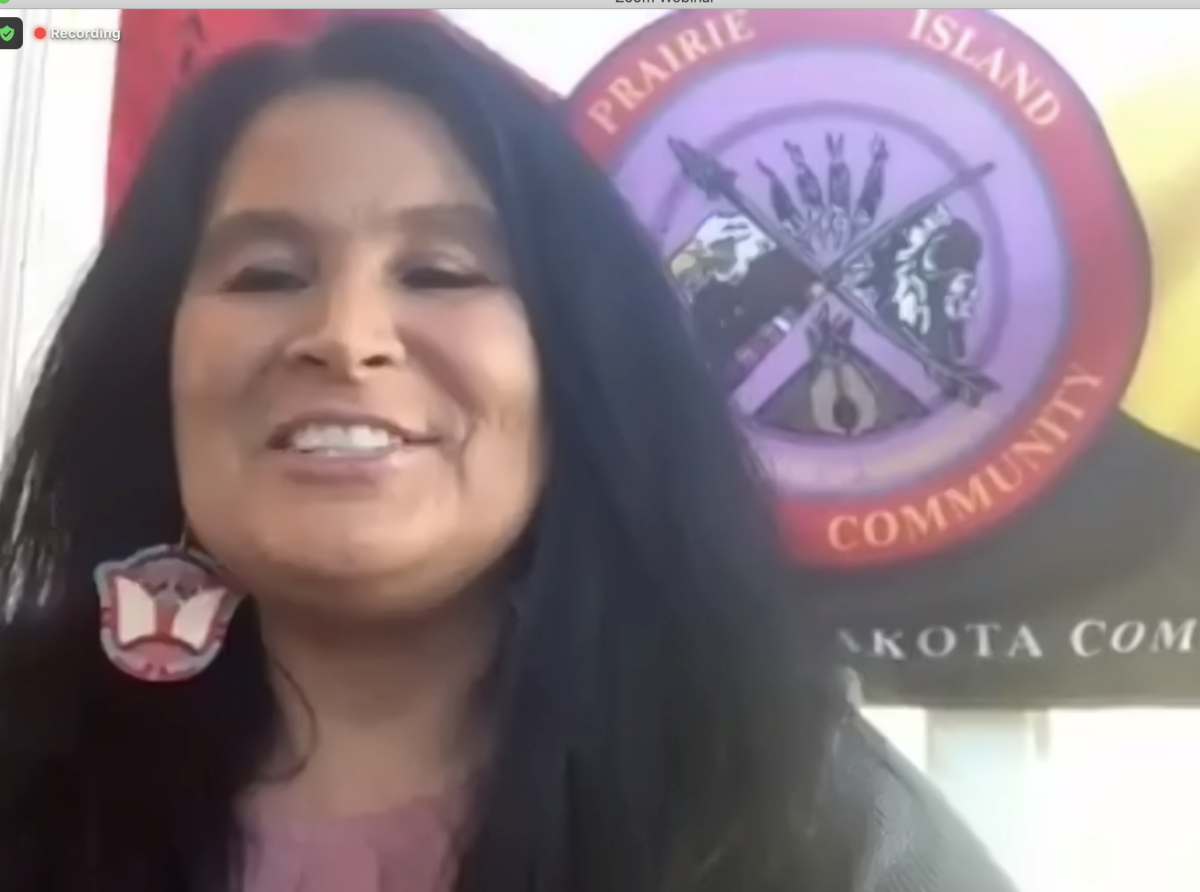 Screen shot of Shelley Buck, President of the Prairie Island Indian Community of Minnesota. (Photo by Mary Annette Pember)