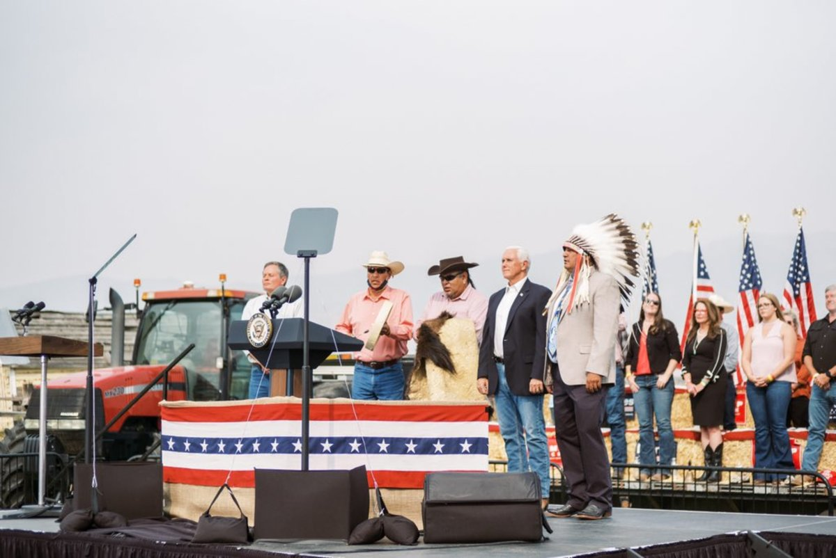A GOP rally held Monday afternoon in Belgrade, Montana included Vice President Mike Pence and Crow Tribal Chairman Alvin Not Afraid, Jr., among others. (Photo from Mike Pence, Twitter)