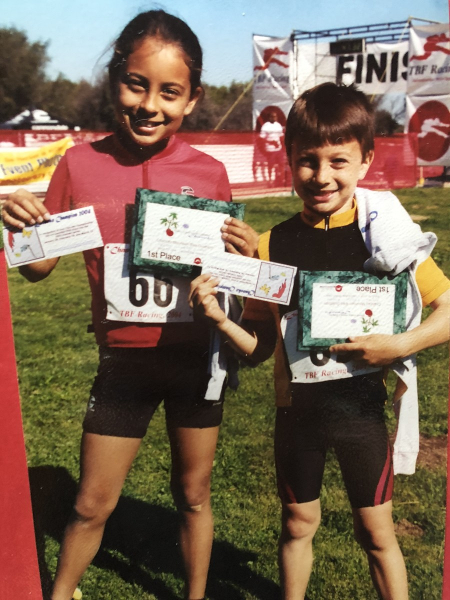 Siblings Shayna and Neilson Powless during their youth years. Both are now professional cyclists and Oneida citizens. (Photo courtesy of Shayna Powless)