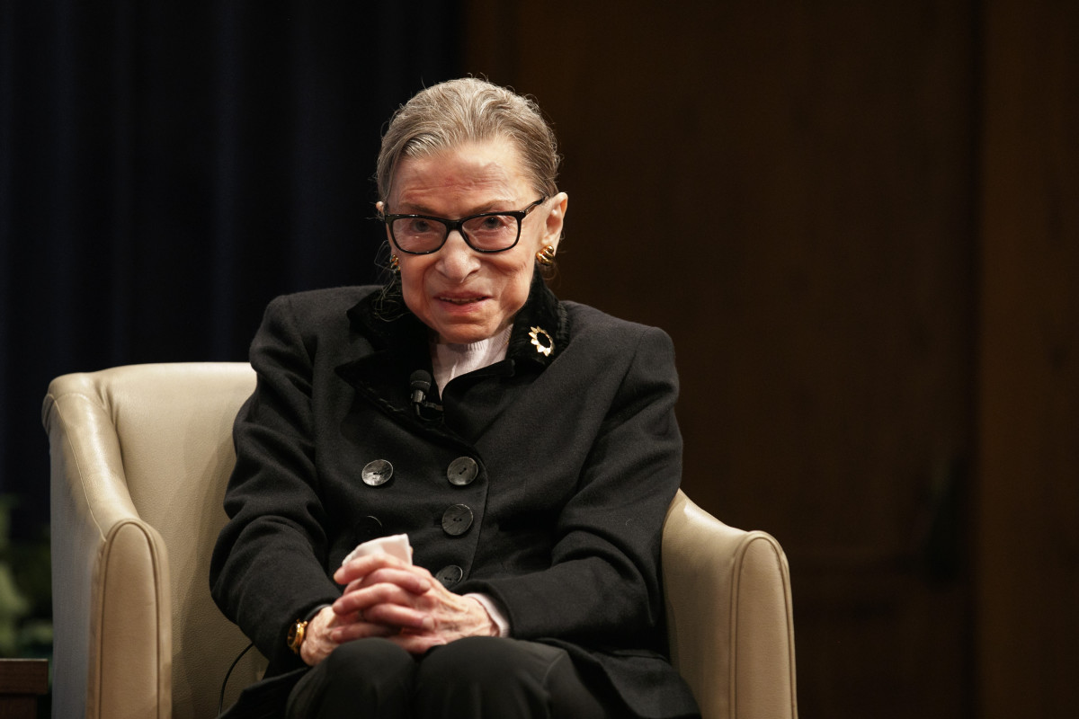 Oct. 30, 2019, file photo, Supreme Court Justice Ruth Bader Ginsburg attends Georgetown Law's second annual Ruth Bader Ginsburg Lecture in Washington. (AP Photo/Jacquelyn Martin)