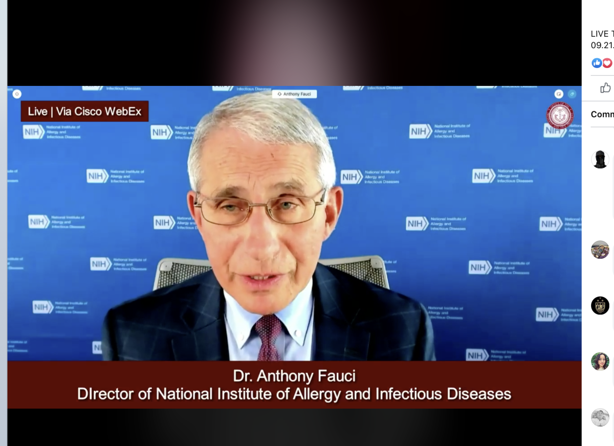 File-Screen shot of Dr. Anthony Fauci giving remarks during Navajo Nation President Jonathon Nez and Vice President Myron Lizer's town hall meeting Sept. 21, 2020.