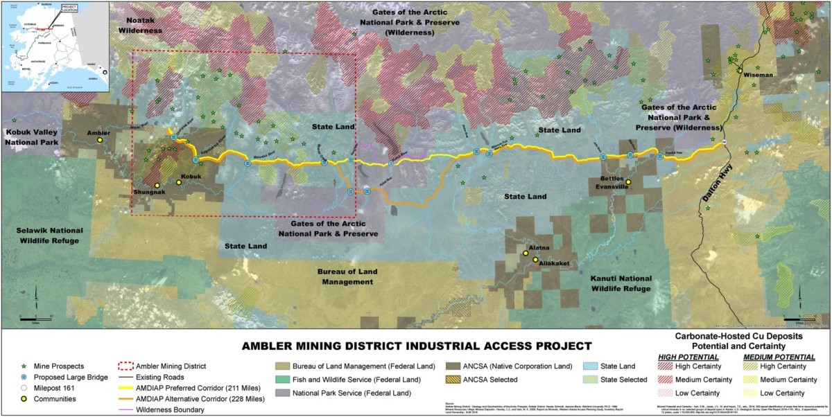 Map of the proposed Ambler road project extending from the Dalton Highway west to the Ambler mining district. (Photo courtesy of the Alaska Industrial Development and Export Authority)