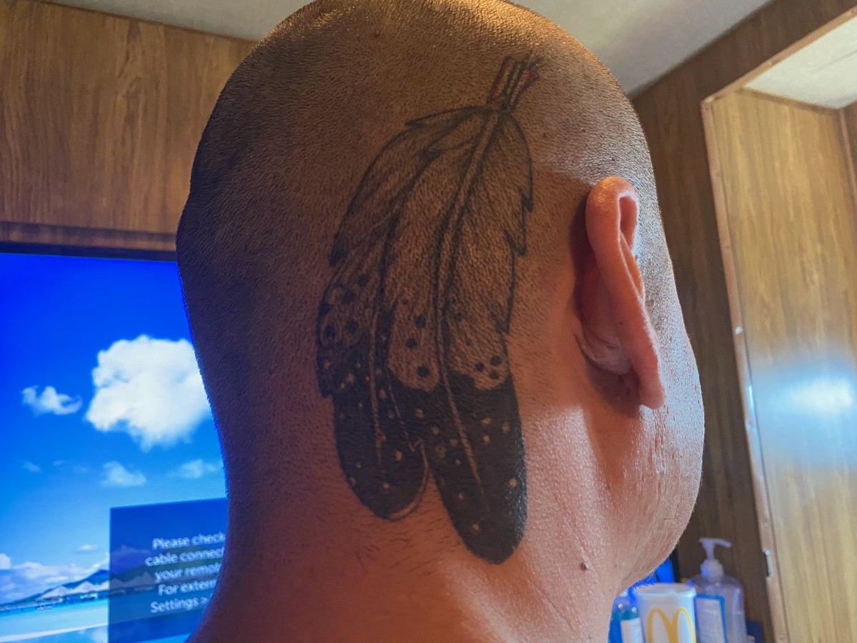 Nathan Apodaca, 37, has a pair of feathers tattooed on his head to represent being Northern Arapaho. (Photo courtesy of Nathan Apodaca)