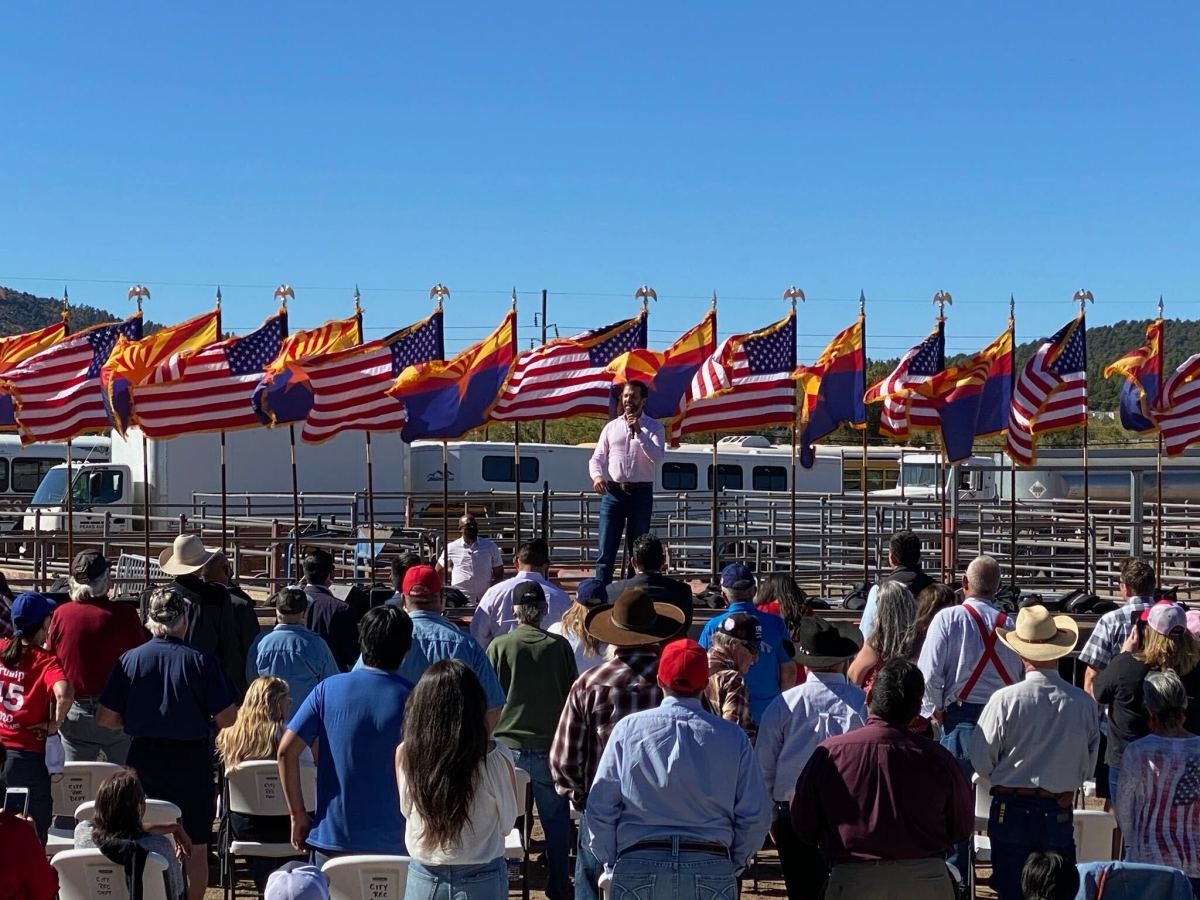 Donald Trump Jr. speaks to the crowd Thursday, Oct. 15, 2020, at the Williams, Arizona, rodeo grounds. (Photo by Carina Dominguez, Indian Country Today)