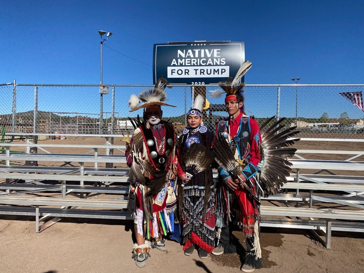 From left, Navajo siblings Roland Denetso, Shauntay Denetso and Tyler Denetso, members of the Standing Horse Dancers. (Photo by Carina Dominguez, Indian Country Today)
