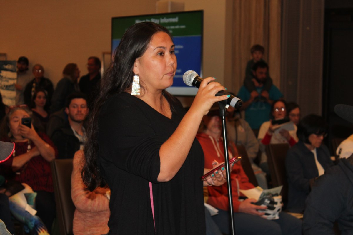 Morning Star Gali, member of the Pit River Tribe and tribal organizer for Save California Salmon, gives her testimony at the Delta Tunnel scoping meeting on March 2, 2020. (Photo by Dan Bacher)